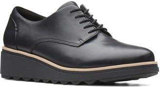 Clarks Sharon Noel Leather Wedge Brogues - Black