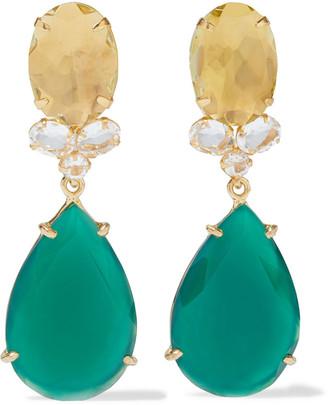 Bounkit Convertible 14-karat Gold-plated, Quartz And Onyx Earrings