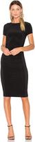 Norma Kamali Short Sleeve Shirred Dress