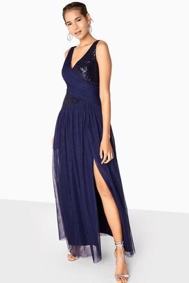 Little Mistress Bonnie Sequin Mesh Maxi Dress