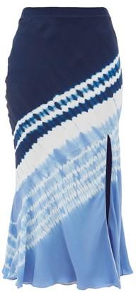 Altuzarra Sachiko Front-slit Shibori-dyed Silk Midi Skirt - Blue Print