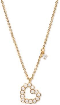 "AVA NADRI Cubic Zirconia Charm & Imitation Pearl Open Heart Pendant Necklace, 16"" + 2"" extender"