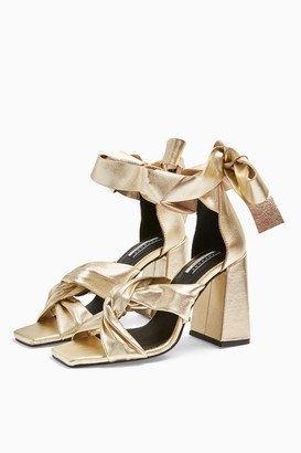 Topshop Womens Revolve Leather Gold High Sandals - Gold