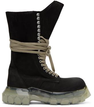 Rick Owens Black Suede Mega Bozo Combat Boots