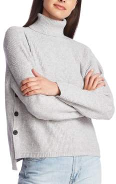 1 STATE 1.State 1.state Waffle-Knit Button-Detail Turtleneck Sweater