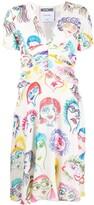 Moschino drawing-print V-neck dress