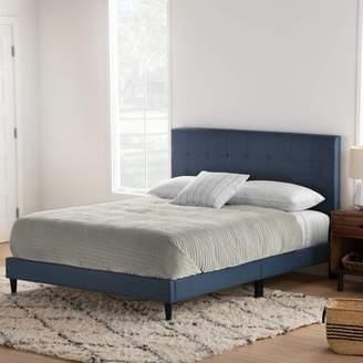 Elmina Upholstered Platform Bed Red Barrel Studio Color: Navy, Size: Twin XL