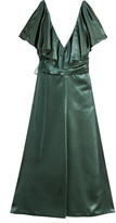 Valentino Ruffled Velvet Dress - Emerald
