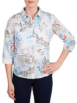 Allison Daley 3/4 Sleeve French Scene Print Button-Front Shirt