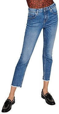 Maje Pachab High-Rise Straight-Leg Jeans in Blue