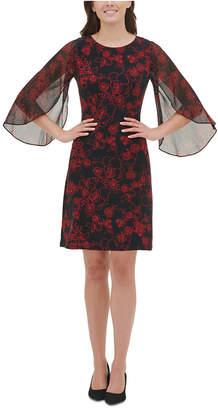 Tommy Hilfiger Floral Jersey Chiffon Sleeve Dress