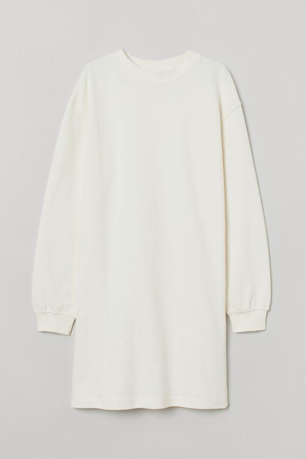 H&M Short Sweatshirt Dress - White