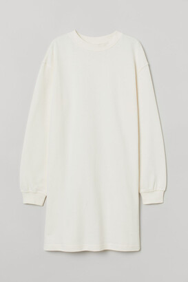 H&M Short Sweatshirt Dress - White
