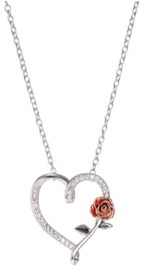 Disney Two-Tone Beauty and The Beast Cubic Zirconia Heart and Rose Pendant Necklace