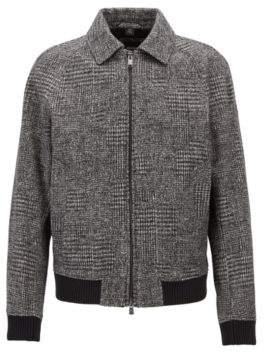 BOSS Hugo Relaxed-fit blouson jacket in patterned jersey 36R Open Grey