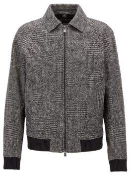 BOSS Hugo Relaxed-fit blouson jacket in patterned jersey 44R Open Grey