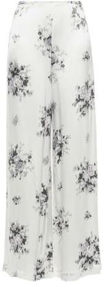 Ganni Cameron Floral-print Satin Wide-leg Pants