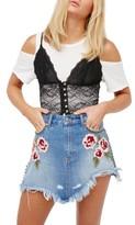 Free People Women's Wild Rose Embroidered Miniskirt