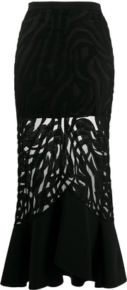 David Koma Sheer Fishtail-Hem Skirt