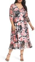 Komarov Plus Size Women's Print A-Line Midi Dress