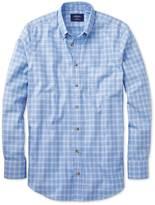 Classic Fit Non-iron Windowpane Check Sky Blue Cotton Shirt Single Cuff Size Small By Charles Tyrwhitt