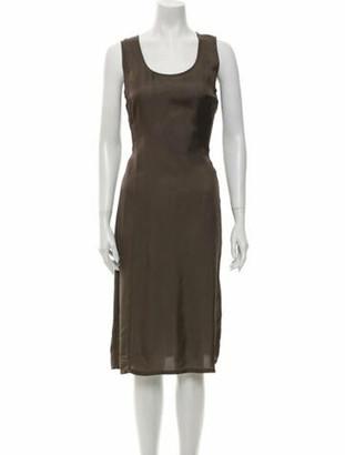 Dries Van Noten Scoop Neck Midi Length Dress Brown
