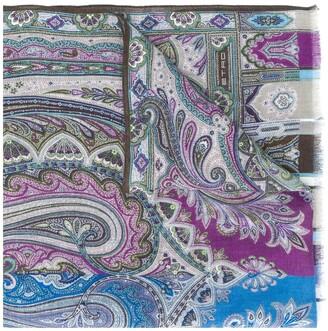Etro mix print frayed scarf