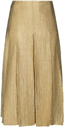 Fendi metallic-effect A-line midi skirt