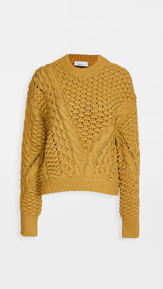 3.1 Phillip Lim Long Sleeve Crew Neck Cable Pullover