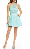 B. Darlin Lace Halter Neck Illusion-Yoke Top To Chiffon Skater Skirt Two-Piece Party Dress