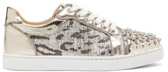 Christian Louboutin Vieira Spike-embellished Tweed Trainers - Womens - Silver