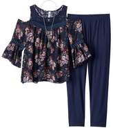 Knitworks Girls Plus Size Cold Shoulder Crochet Chiffon Top & Leggings Set with Necklace