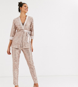 Little Mistress Tall tailored sequin pants in rose gold two