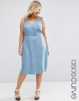 Asos Denim Waisted Midi Dress with Frill Sleeves