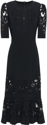 Dolce & Gabbana Embroidered Tulle And Crepe Midi Dress