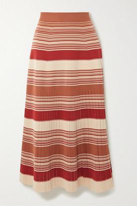 Loro Piana Tangery Striped Silk And Cotton-blend Midi Skirt - Red