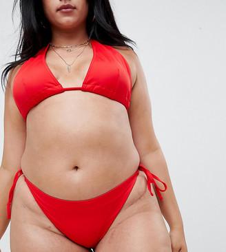 Asos DESIGN Curve recycled Tie Side Bikini Bottom-Red