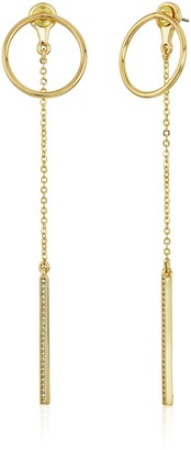 Rebecca Minkoff Open Circle Stud with Linear Drop Front Back Gold Earrings