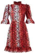 Batsheva Ruffled Leopard-print Velvet Dress - Womens - Red White