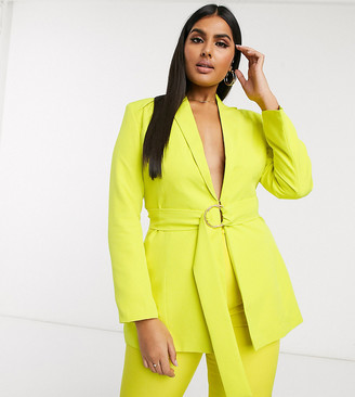 Club L London Plus belted blazer in lime
