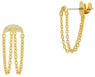 Celara 14K Yellow Gold & Diamond Half Moon Chain Earrings