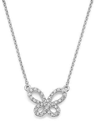 """KC Designs 14K White Gold Diamond Butterfly Necklace, 15"""""""