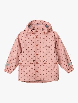 Tretorn Children's Wings Fleece Waterproof Rain Coat, Pink Polka Dot