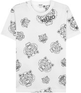 Kenzo White Tiger-print Stretch Cotton T-shirt