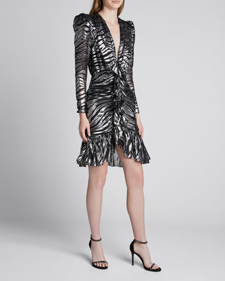 Dundas V-Neck Zebra Lame Dress
