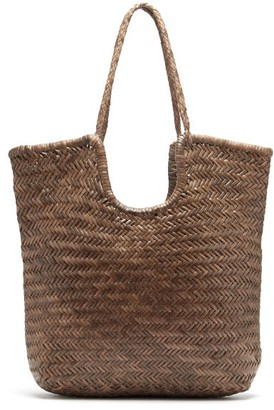 DRAGON DIFFUSION Triple Jump Small Woven-leather Basket Bag - Khaki