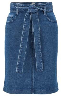 BOSS Regular-fit miniskirt in mid-blue stretch denim