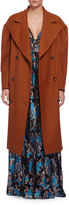 Lanvin Long-Sleeve Silk Trenchcoat, Caramel
