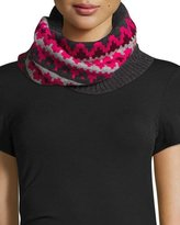 Sofia Cashmere Geometric Fair Isle Cashmere Snood, Pink/Gray