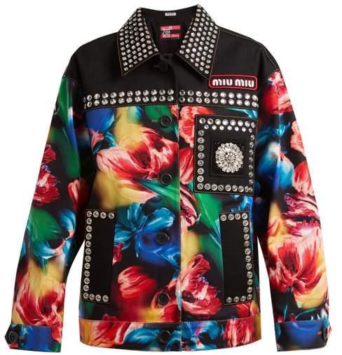 Miu Miu Flower Print Embellished Stretch Denim Jacket - Womens - Black Multi